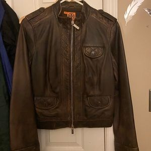 Brown Tory Burch Leather Jacket